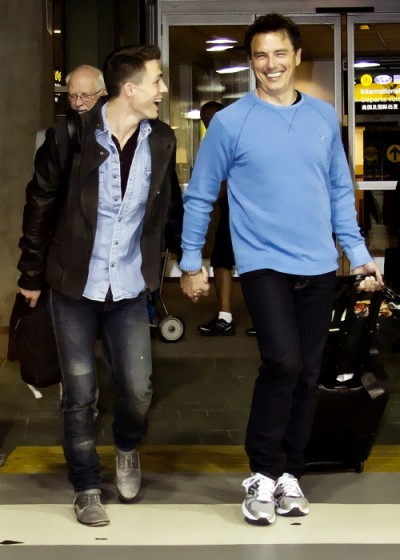 """Why """"Arrow"""" co-stars John Barrowman and Colton Haynes were holding hands in public"""